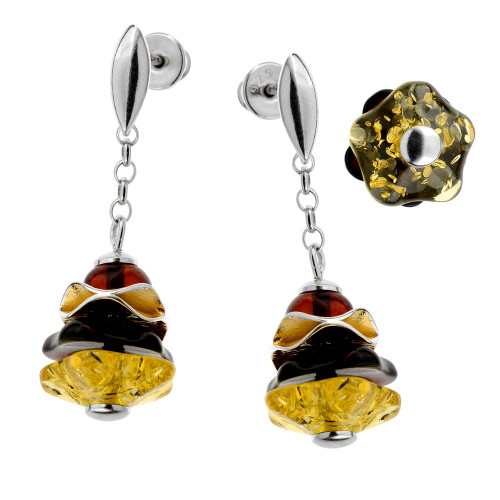Dangle style Multi Color Baltic Amber Earrings in Sterling Silver