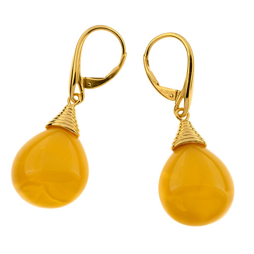 Unique Earrings with Butterscotch Color Baltic Amber in Yellow Goldplated Sterling Silver UE100