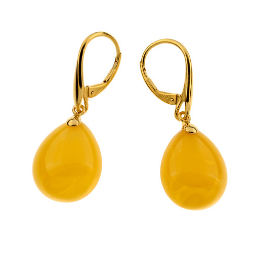 Unique Earrings with Butterscotch Color Baltic Amber in Yellow Goldplated Sterling Silver UE101