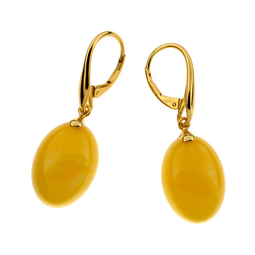 Unique Earrings with Butterscotch Color Baltic Amber in Yellow Goldplated Sterling Silver UE102