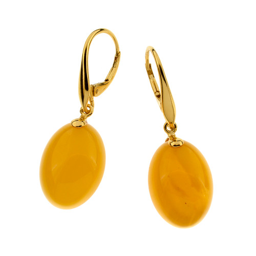 Unique Earrings with Butterscotch Color Baltic Amber in Yellow Goldplated Sterling Silver UE104