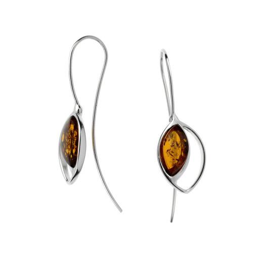 Cognac Color Baltic Amber Fishhook Earrings in Sterling Silver