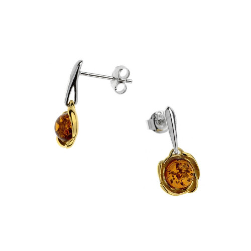 Small flower Earrings push back with Cognac Color Baltic Amber in Yellow Gold Plated Sterling Silver
