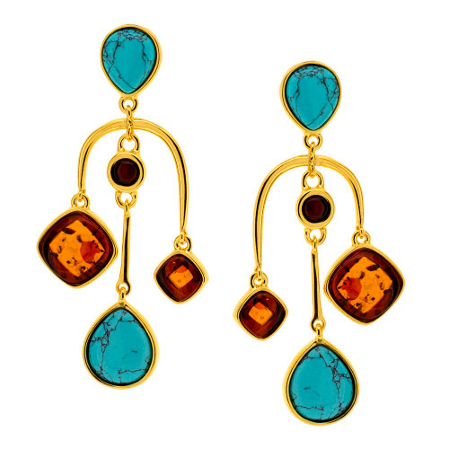 Dangles Earrings with Turquoise & Cognac Color Baltic Amber in Yellow Goldplated Sterling Silver