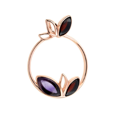 Pendant with Amethyst and Cherry Color Baltic Amber in Rose Gold Plated Sterling Silver