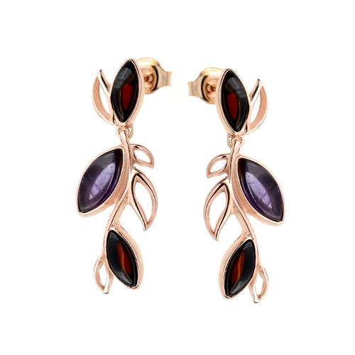 Long leafs dangle style Cherry Color Baltic Amber and Amethyst Earrings in Rose Gold plated Sterling Silver