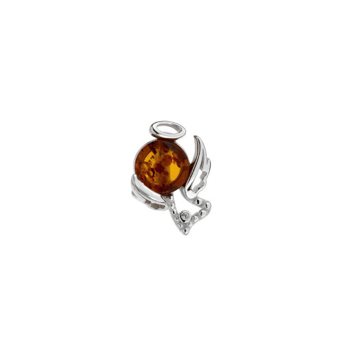 Small Angel Pendant with Cognac Color Baltic Amber Stone in Sterling Silver