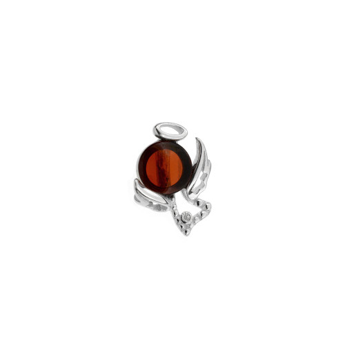 Small Angel Pendant with Cherry Color Baltic Amber Stone in Sterling Silver