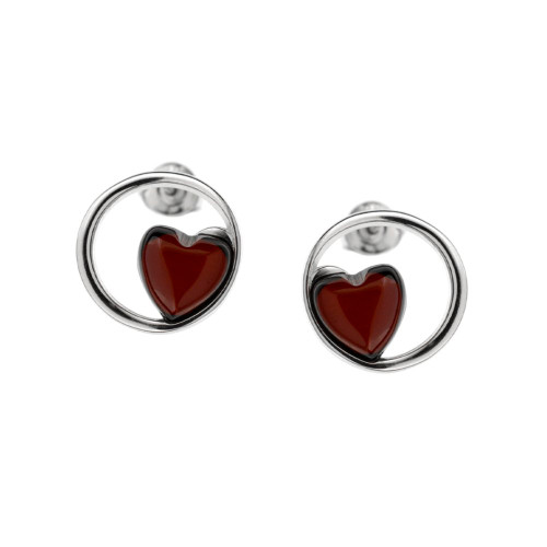 Heart shape Earrings with Cherry Color Baltic Amber in Sterling Silver