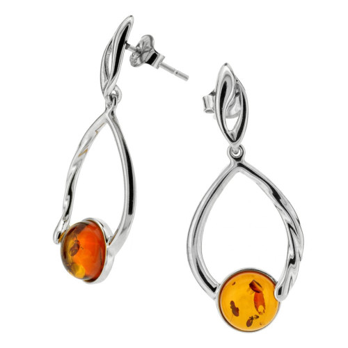 Dangles Earrings with Cognac Color Baltic Amber in Sterling Silver