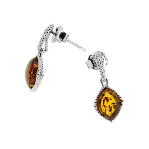 Small dangles Earrings with Cognac Color Baltic Amber in Sterling Silver