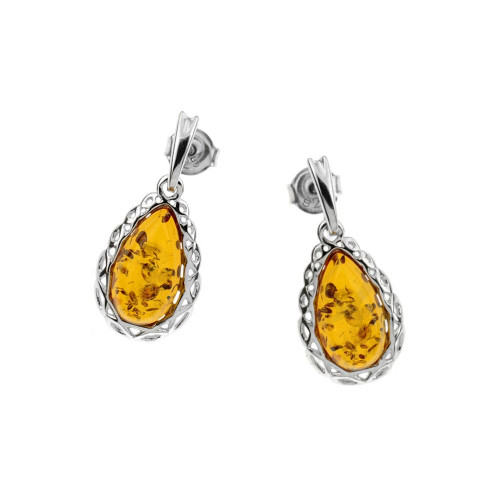 Teardrop dangles Earrings with Cognac Color Baltic Amber in Sterling Silver