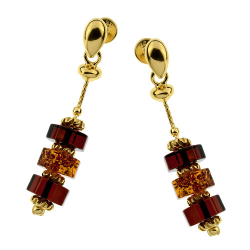 Dangles stud Earrings with Multi Color Baltic Amber in Yellow Gold Plated Sterling Silver