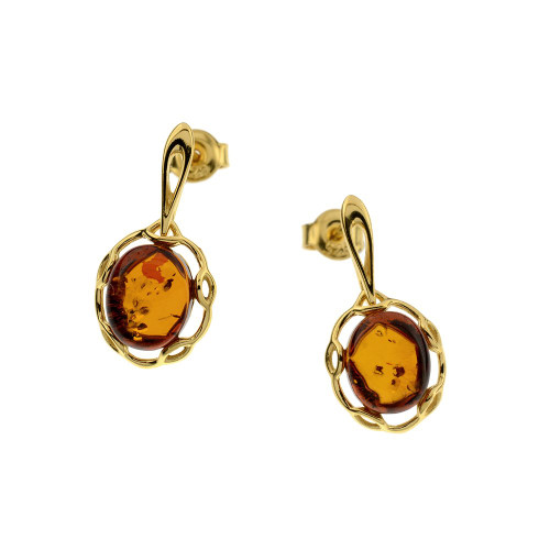 Oval shape stud Earrings with Cognac Color Baltic Amber in Yellow Gold Plated Sterling Silver