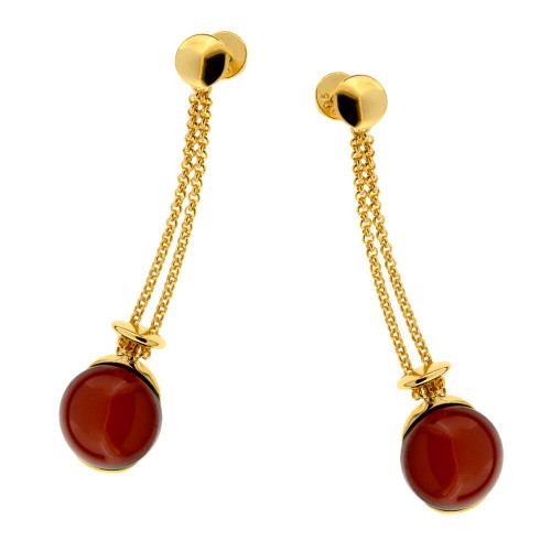 Dangles stud Earrings with Cherry Color Baltic Amber in Gold Plated Sterling Silver