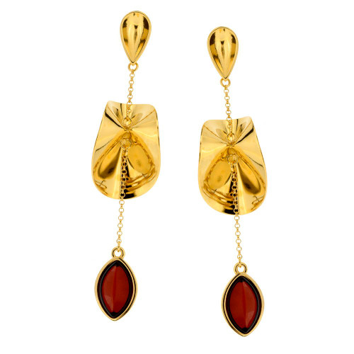 Contemporary dangles stud Earrings with Cherry Color Baltic Amber in Gold Plated Sterling Silver