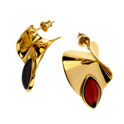 Contemporary stud Earrings with Cherry Color Baltic Amber in Gold Plated Sterling Silver