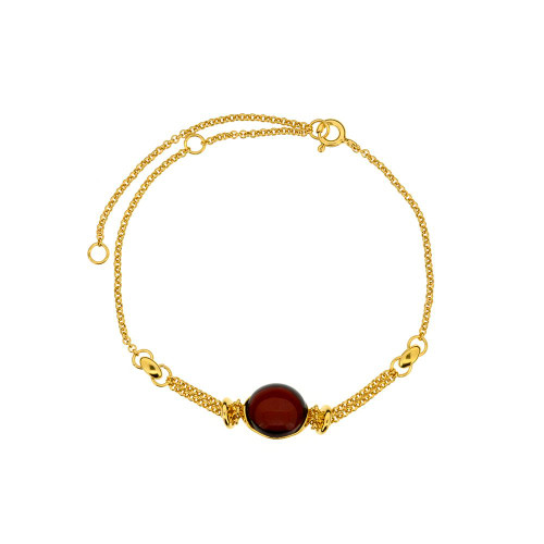 Bracelet with Cherry Color Baltic Amber  in Gold Plated Sterling Silver