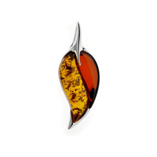 Multi Color Baltic Amber Pendant in Sterling Silver P2303