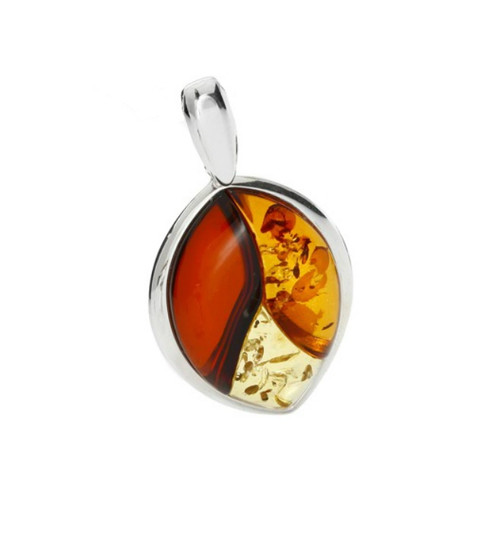 Classic Tricolor Baltic Amber Pendant in Sterling Silver