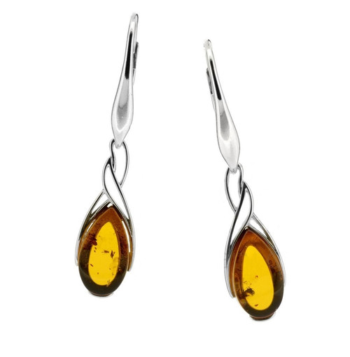 Cognac Color Baltic Amber Earrings in Gold-plated Sterling Silver