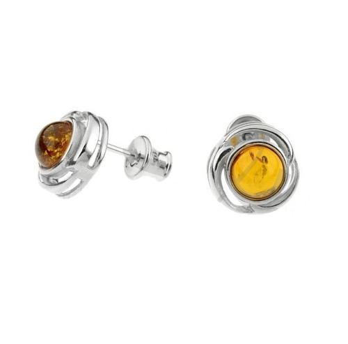 Cognac Color Baltic Amber Round Stud Earrings in Sterling Silver