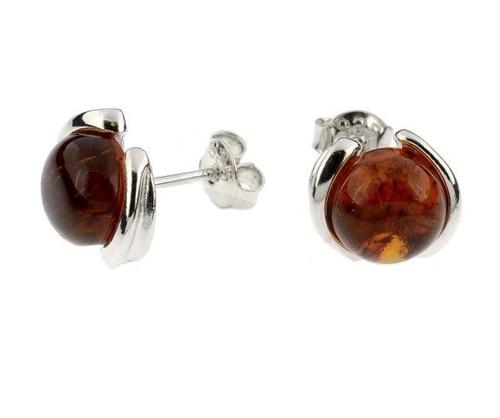 Cognac Color Baltic Amber Stud Earrings in Sterling Silver by KordasCo