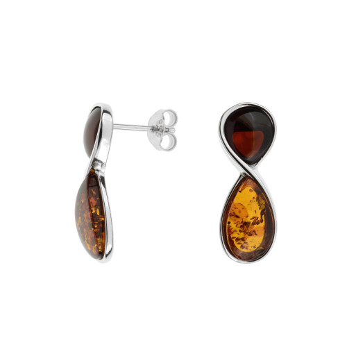 Multi-color Baltic Amber Earrings in Sterling Silver