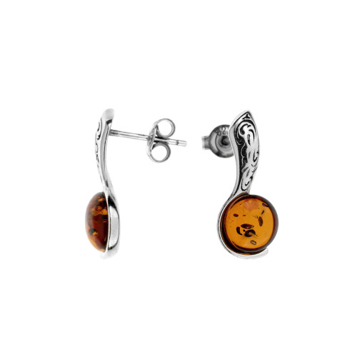 Baltic Amber Earrings in Sterling Silver Cognac Color