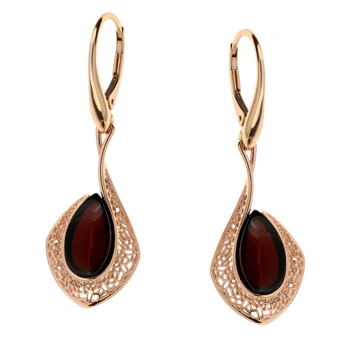 Dangle style Cherry Color Baltic Amber Earrings in Gold-plated Sterling Silver