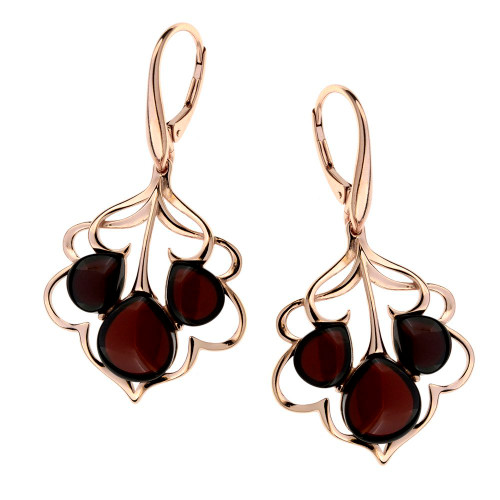 Dangle style Cherry Color Baltic Amber Earrings in Rose Gold-plated Sterling Silver