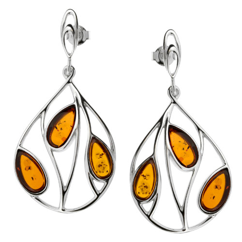 Cognac Color Baltic Amber Earrings in  Sterling Silver