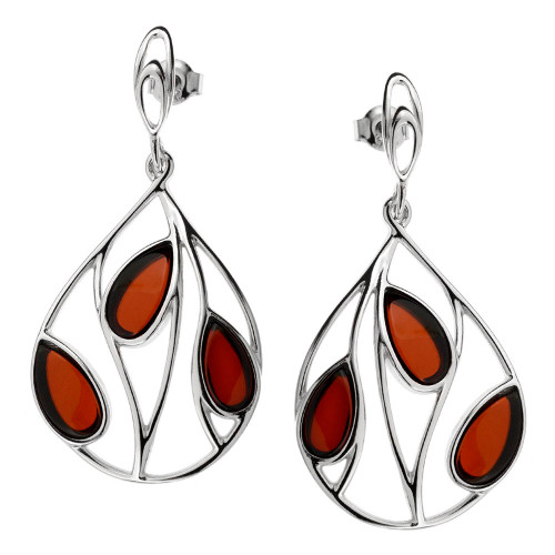 Cherry Color Baltic Amber Earrings in  Sterling Silver