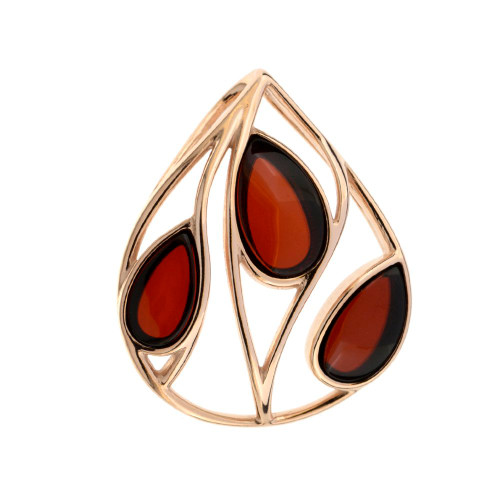 Pendant with Cherry Color Baltic Amber in Gold Plated Sterling Silver