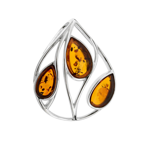Pendant with Cognac  Color Baltic Amber in Sterling Silver