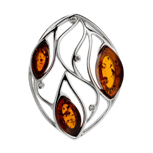 Pendant with Cognac Color Baltic Amber and Cubic Zirconia in Sterling Silver
