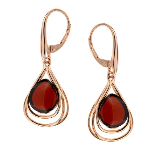 Cherry Color  Baltic Amber Earrings in Rose Gold-plated Sterling Silver