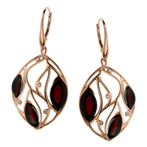 Cherry Color Baltic Amber & CZ Earrings in Rose Gold-plated Sterling Silver