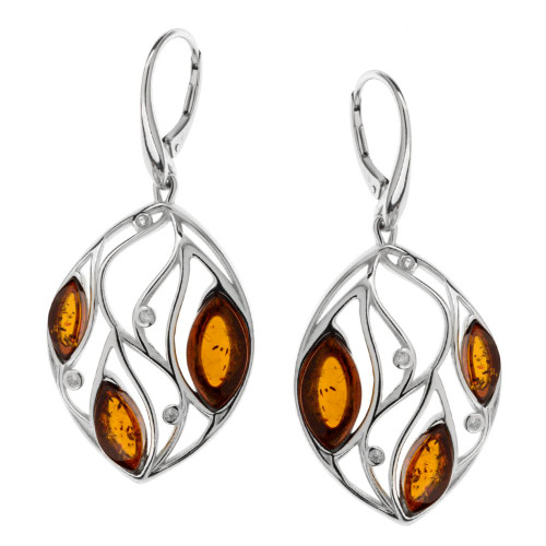 Cognac Color Baltic Amber & Cubic Zirconia Earrings in Sterling Silver