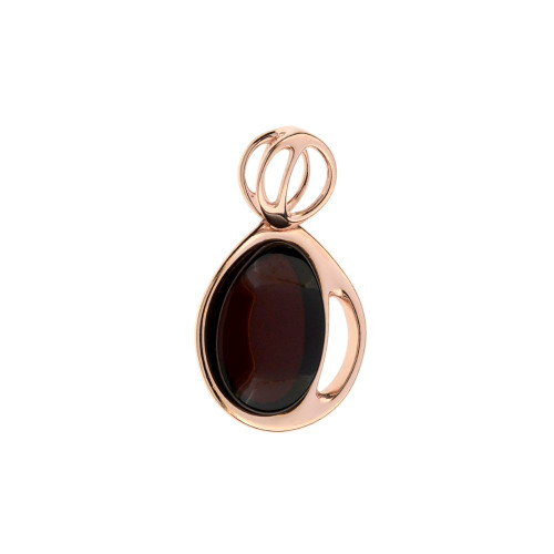 Pendant with Cherry Color Baltic Amber in Rose Gold-plated Sterling Silver