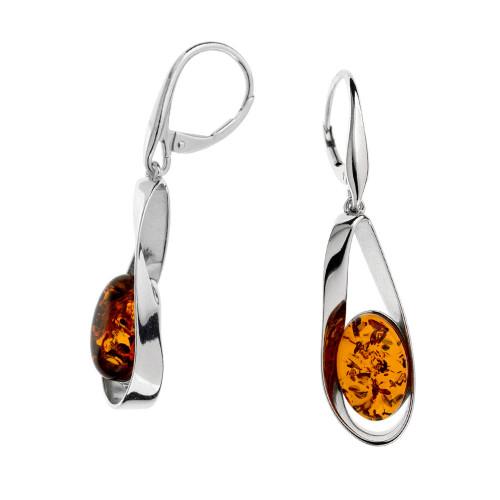 Cognac Color Baltic Amber Earrings in Sterling Silver by  KordasCo