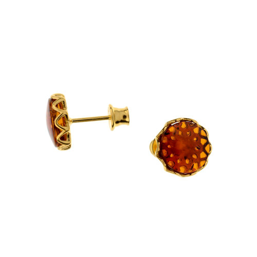 Post Earrings with Cognac Color Baltic Amber in Gold-plated Sterling Silver