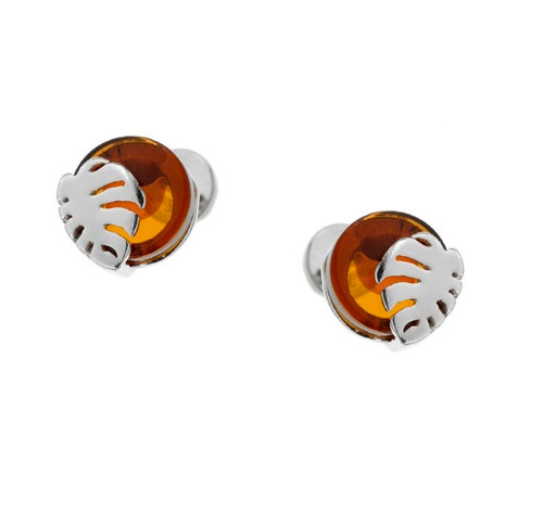 Earrings with Cognac Color Baltic Amber in  Sterling Silver