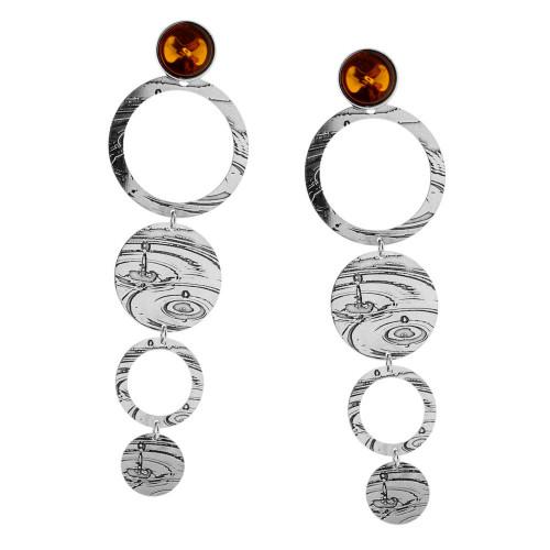 Cognac Color Baltic Amber Dangling Earrings in Sterling Silver