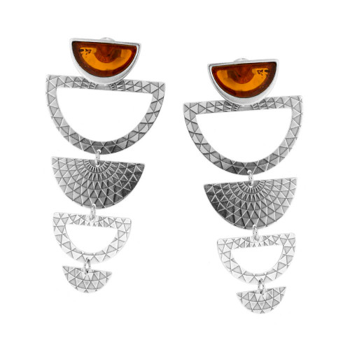Dangling Earrings with Cognac Color Baltic Amber in Sterling Silver