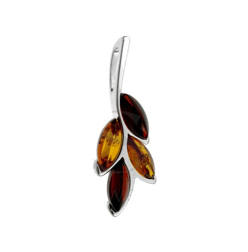 Multi Color Cognac & Cherry Baltic Amber Pendant in Sterling Silver