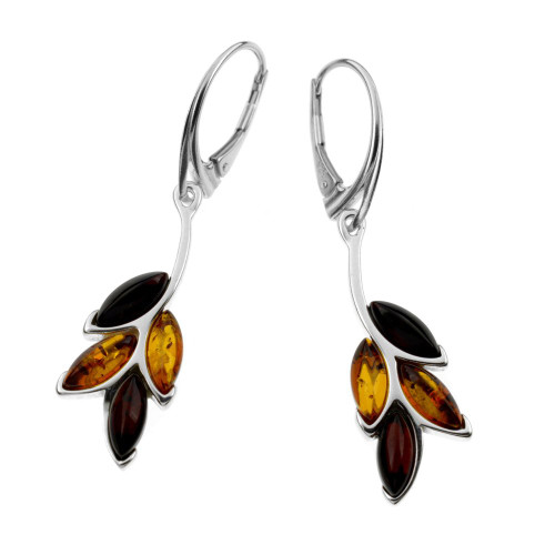 Multi Color Baltic Amber Lever Back Earrings in Sterling Silver
