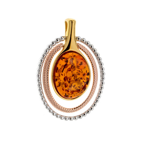 Pendant with Cognac Color Baltic Amber in Yellow Gold-plated Sterling Silver