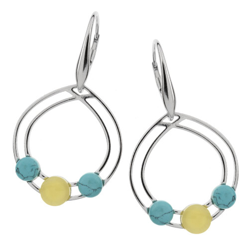 Earrings with Turquoise & Cognac Color Baltic Amber in Sterling Silver