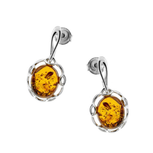 Oval shape stud Earrings with Cognac Color Baltic Amber in Sterling Silver